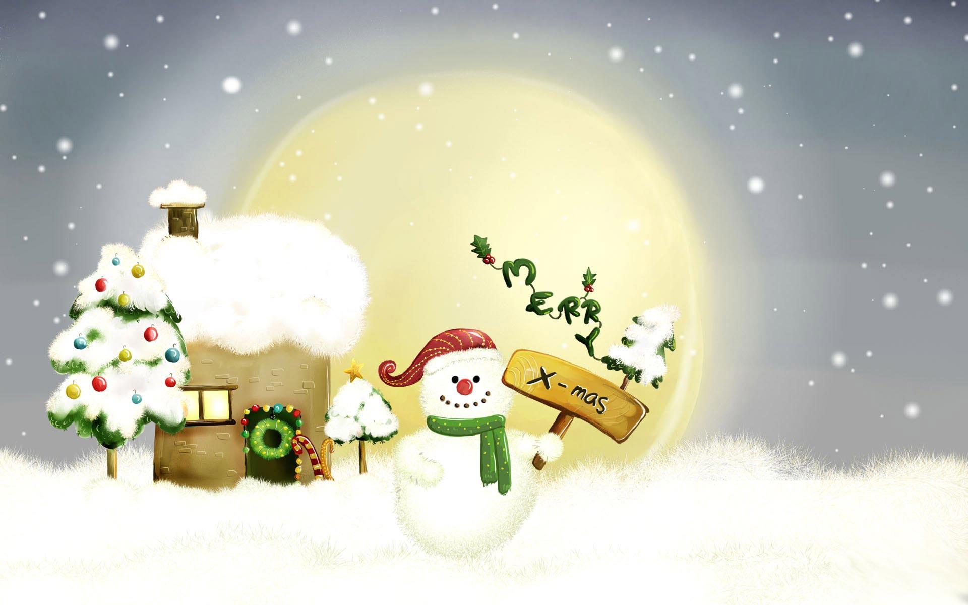 Sfondi Natale - Sfondo Pupazzo di neve
