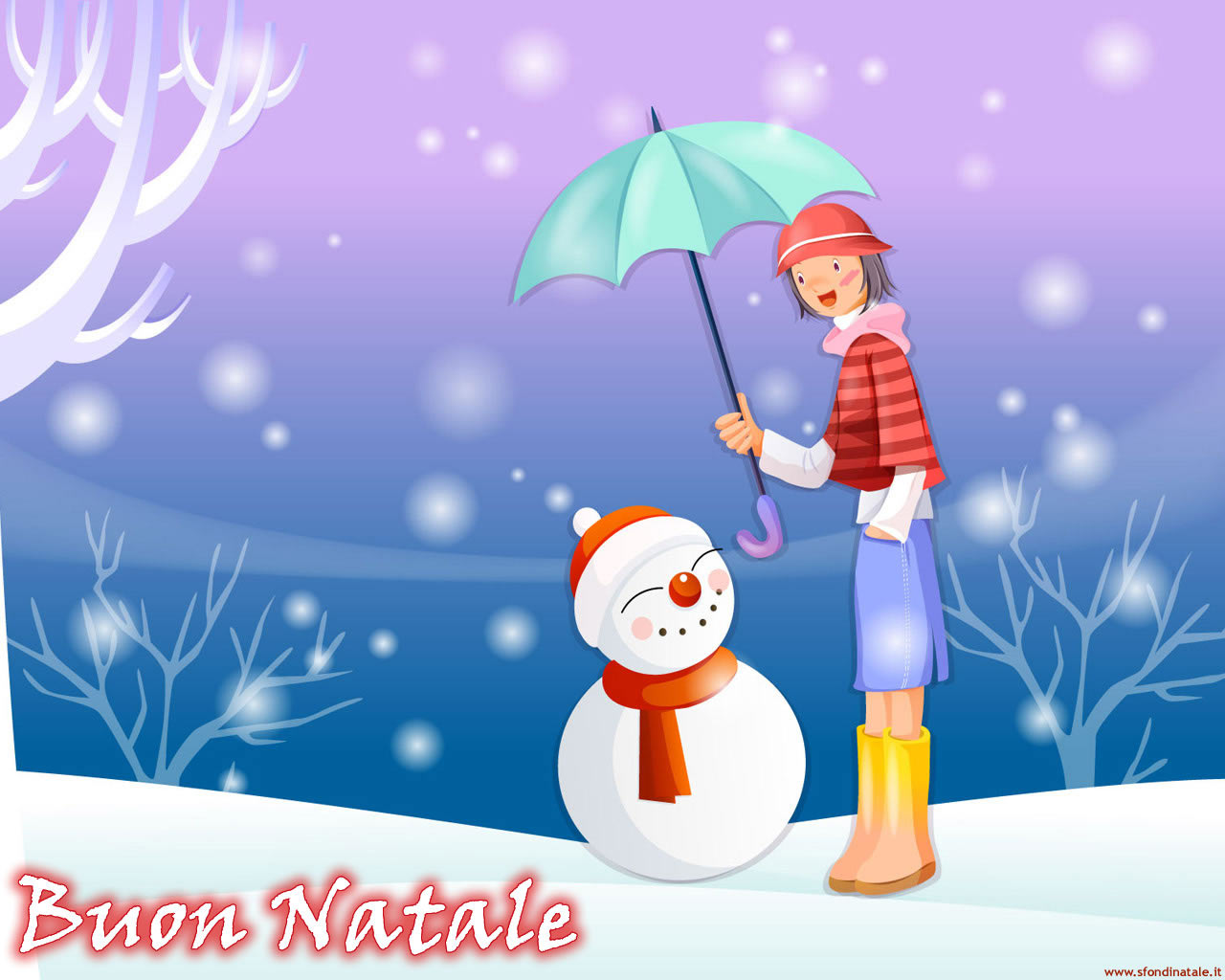 Sfondi Natale - Sfondo Natale Pupazzo neve