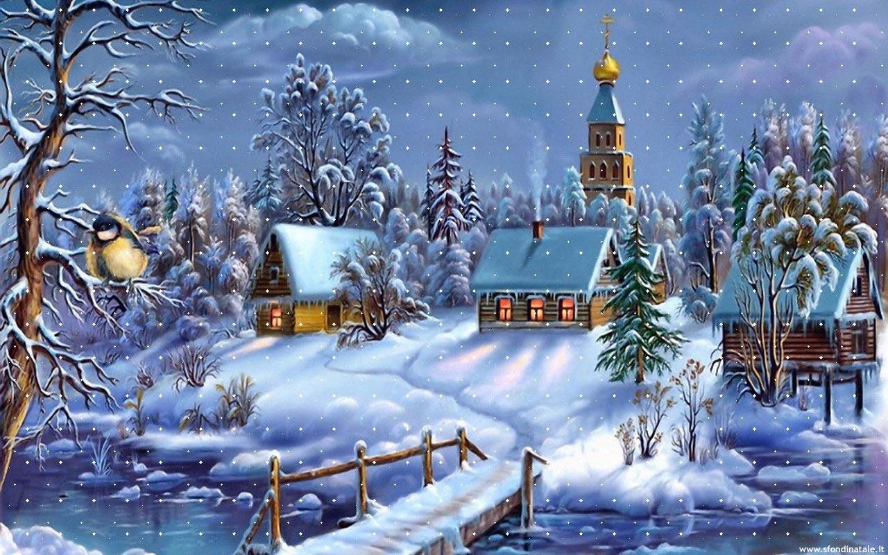 Sfondi Natale - Sfondo natalizio paesaggio