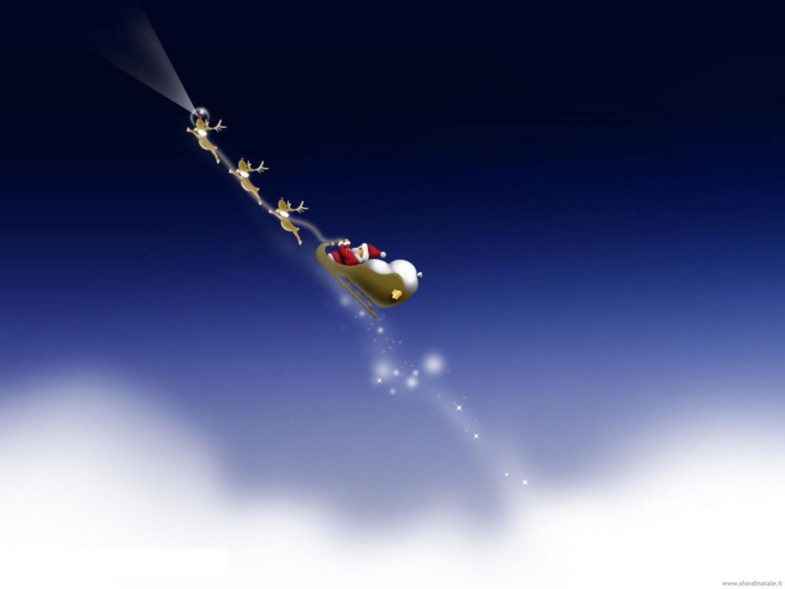 Sfondi Natale - Sfondo Babbo Natale con slitta