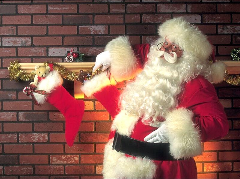 Sfondi Natale - Sfondo natalizio Babbo Natale con doni