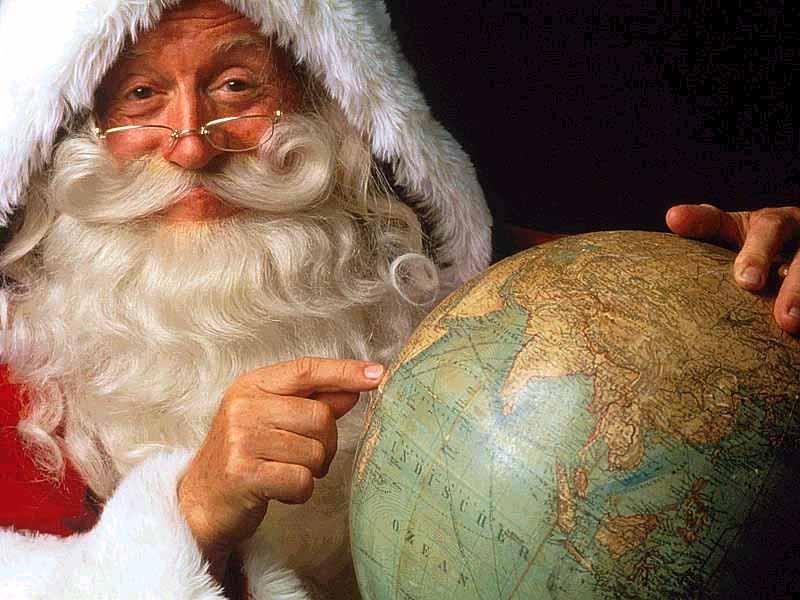 Sfondi Natale - Sfondo natalizio Babbo Natale Mappamondo