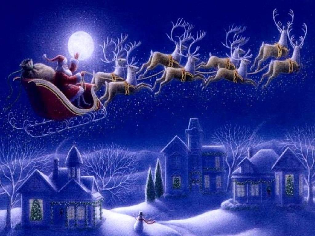 Sfondi Natale - Sfondo Babbo Natale con renne