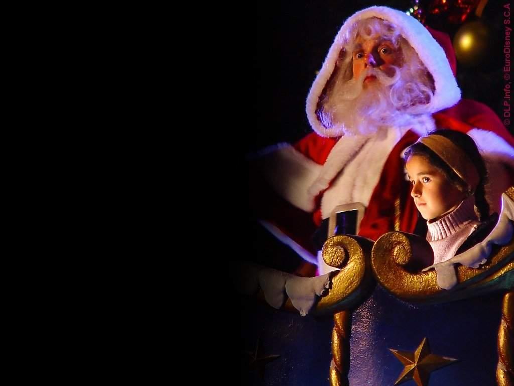 Sfondi Natale - Babbo Natale con bambina