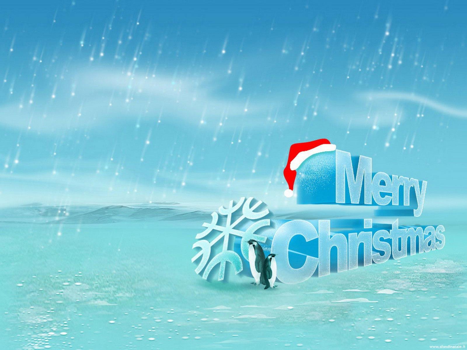 Sfondi Natale - Sfondo Natale pinguini