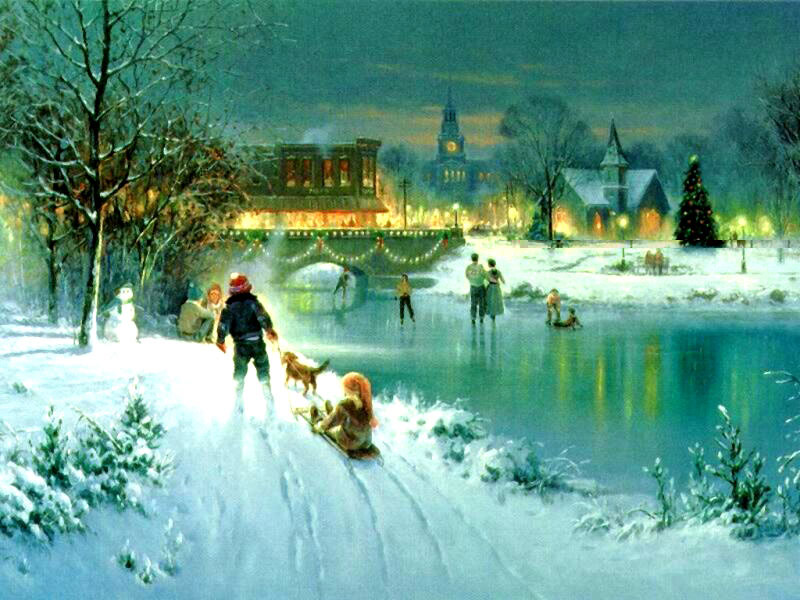 Sfondi Natale - Sfondo paesaggio natale
