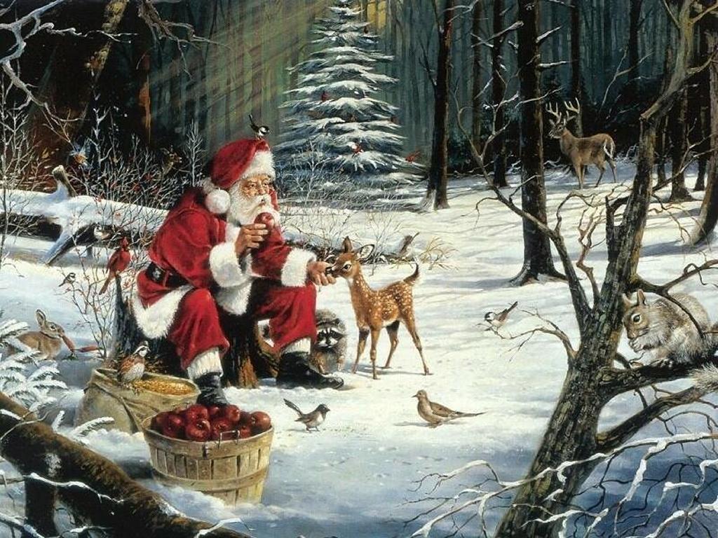 Sfondi Natale - Sfondo natale Babbo Natale e cerbiatto